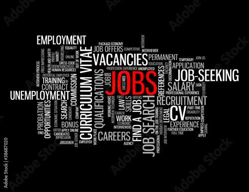 JOBS Tag Cloud (careers vacancies employment recruitment button)