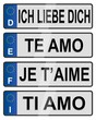 European number love plates