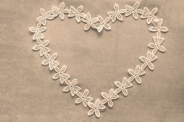 Romantic lacy heart in sepia