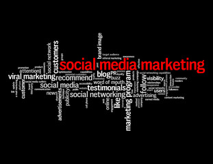 """SOCIAL MEDIA MARKETING"" Tag Cloud (networking advertising buzz)"