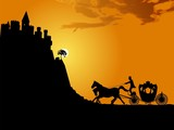 Silhouette of a horse-drawn carriage and a medieval castle.