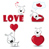 Fototapety A set of funny dogs with hearts.Vector illustration.