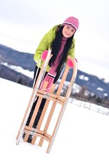 woman with sled