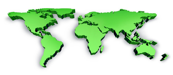Dimensional Green 3D Wold Map