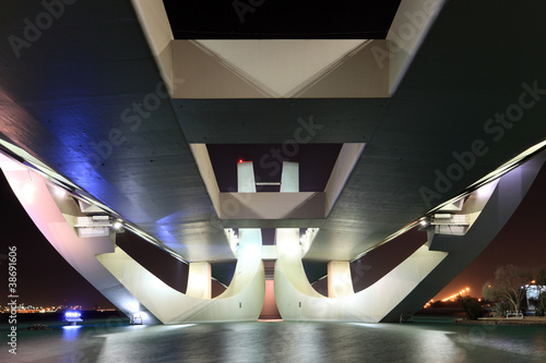 Sheikh Zayed Bridge at night, Abu Dhabi, UAE