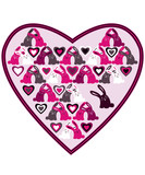 Heart with pink, grey, white and black rabbits