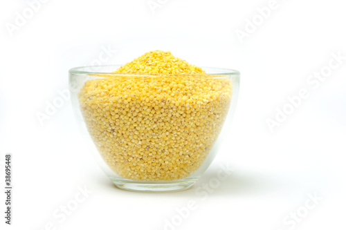 Millets in transparent bowl