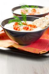 Cream of potato and celeriac soup