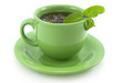 Cup with green tea with mint.