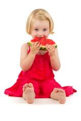 girl eats melon