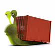 3d Snail hauls a container