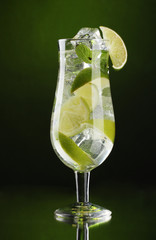 glass of cocktail with lime and mint on green background