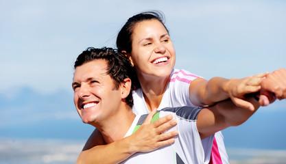joyful couple laughing