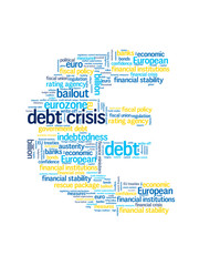 DEBT CRISIS Tag Cloud (eurozone euro symbol recession finance)