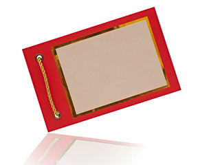 Greeting card on red paper with gold rope. space for your text