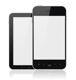 Modern Mobile Phones With Blank Screen Isolated