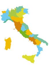 Italia vettoriale divisa per regioni