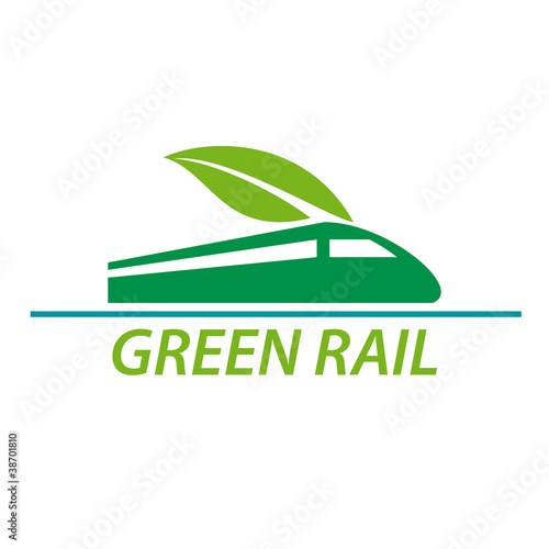 Logo railway and green train # Vector
