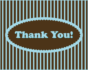 Thank You - Thank You text in oval frame on stripes