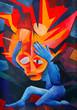 Leinwandbild Motiv splitting headache - acryl auf Leinwand (gemalt vom Fotograf)