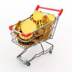 Shopping cart full of coins. 3d