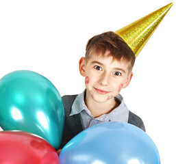 boy in birthday hat