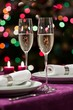 Christmas table setting with sparkling wine