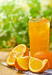 Orange juice on the wood surface, outdoor