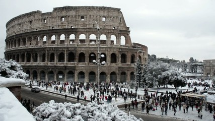 Colosseum 02/04/2012, snow in Rome