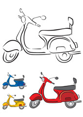 Scooter Vector Illustration in 3 different colors
