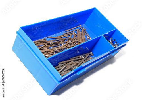 nail in blue plastic box