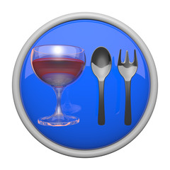 Dining Icon, Spoon, Fork, and Wine Glass