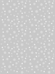 Silver winter background with snowflakes and trees