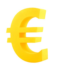 Golden euro symbol isolated on white