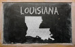 outline map of us state of louisiana on blackboard