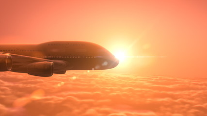 Airplane flying over clouds, beautiful 3d animation