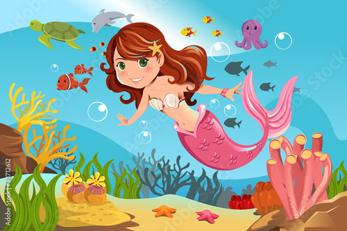 Poster Zeemeermin Mermaid in ocean