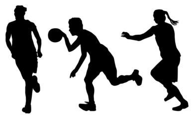 vector women playing basketball
