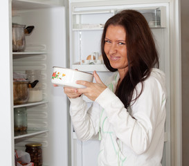 woman  holding foul food