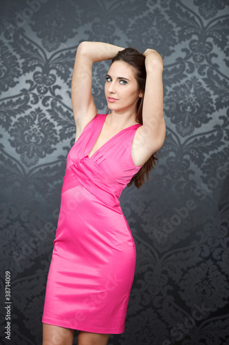 sexy girl in pink dress