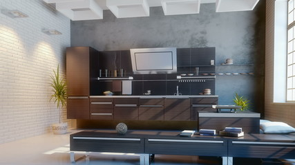 modern kitchen (camera motion)
