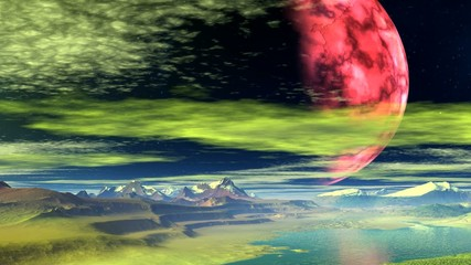 Red planet against a fantastic landscape