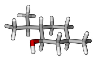 Menthol sticks molecular model