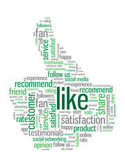 LIKE Tag Cloud (thumbs up recommend vote comment share button)