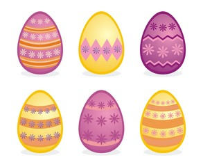 Vector easter eggs isolated traditional colorful icons