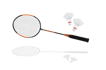 Detailed badminton racket and shuttlecock in vector format