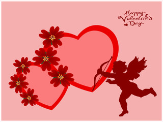 Valentine's hearts and Cupidon silhouette
