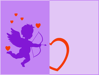 Cupidon silhouette with hearts and on purple