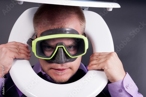 diver in toilet