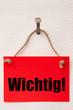 WICHTIG - Button, Aufkleber, Eyecatcher, Schild